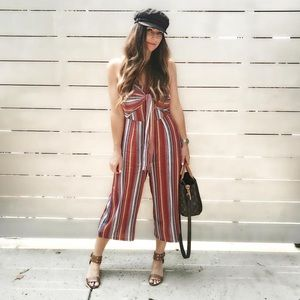 Pants - Cropped Comfy Jumpsuit Striped Front Tie